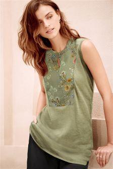 Embellished Sleeveless Linen Mix Sweater