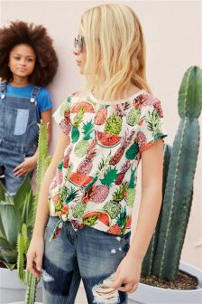 Fruit Print Front Tie T-Shirt (3-16yrs)