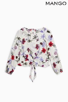 Mango Floral Cream Blouse