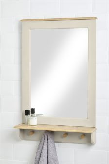 Southwold Grey Mirror with Hooks