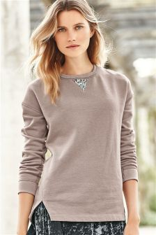 Embellished Elbow Sweatshirt