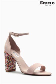 Dune Nude Suede Multicolour Embellished Heel Sandal