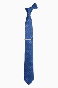 Spotted Tie And Tie Clip