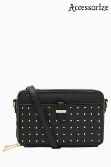 Accessorize Black Studded Thandie Across Body Bag