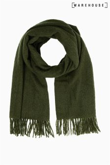 Warehouse Khaki Plain Bouclé Scarf