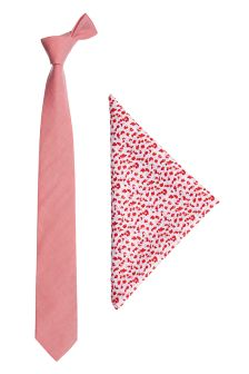 Cotton Tie And Floral Pocket Square Set