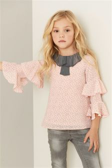 Spot Ruffle Blouse (3-16yrs)