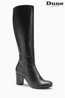 Dune Toulon Black Heel Boot