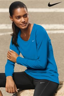 Nike Run Blue Long Sleeve Miler Tee