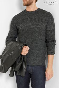 Ted Baker Grey Textured Stripe Crew Neck Jumper