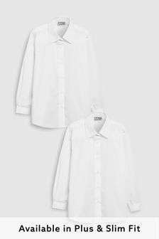 White Long Sleeve Formal Blouse Two Pack (3-16yrs)