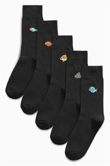 Fish Embroidery Socks Five Pack