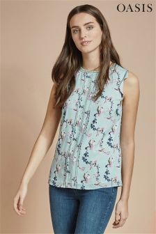 Oasis Navy Bird Print Top