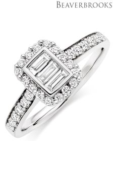 Beaverbrooks Platinum Diamond Halo Ring