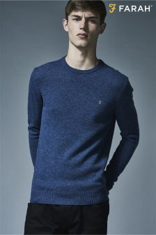 Farah Blue Slim Fit Lambswool Jumper