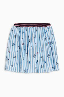 Stripe Conversational Print Skirt (3-12yrs)