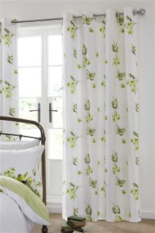 Green Butterfly Blackout Eyelet Curtains
