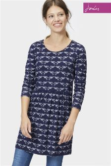 Joules Kirsten French Navy Love Birds Jersey Tunic