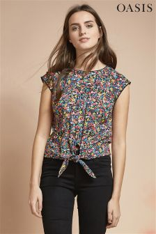 Oasis Navy Floral Print Tie Front Shirt