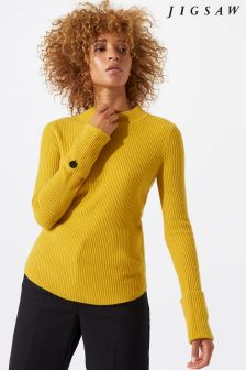 Jigsaw Yellow Cashmere Purser Button Cuff Jumper