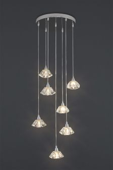 Siena 7 Light Cluster Pendant With Clear Solid Glass Shades