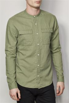 Long Sleeve Utility Linen Blend Grandad