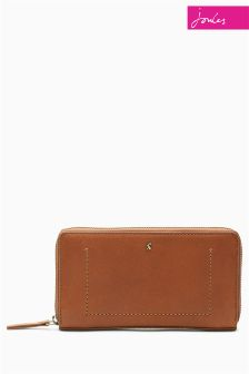 Joules Tan Fairford Leather Purse With Zip Fastening