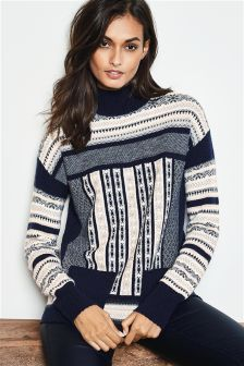 Fairisle Pattern Roll Neck Christmas Jumper