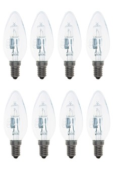 8 Pack 28W SES Halogen Candle Bulbs