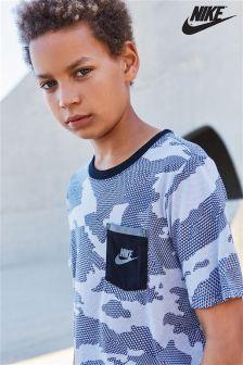 Nike Grey Camo Print Sportswear T-Shirt