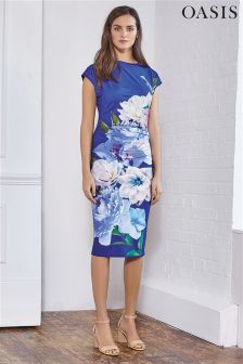 Oasis Blue Floral Drape Dress