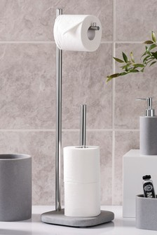 Pale Grey Resin Loo Roll Stand And Store