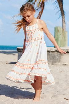 White Embroidered Maxi Dress (3-16yrs)