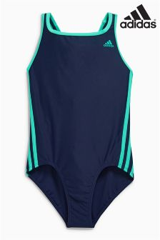 adidas Navy 3 Stripe Swimsuit