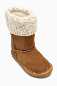 Pull On Knitted Cuff Boots (Younger Girls)