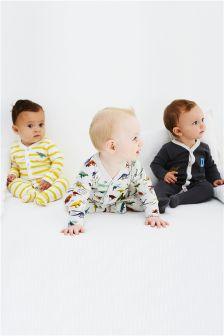 Dino Sleepsuits Three Pack (0mths-2yrs)