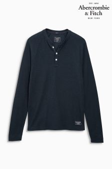 Abercrombie & Fitch Navy Henley Top