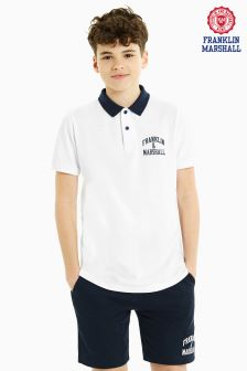 Franklin And Marshall White Logo Polo
