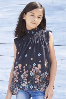 Charcoal Floral High Neck Blouse (3-14yrs)