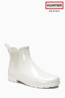 Hunter Original Parchment Chelsea Gloss Short Welly