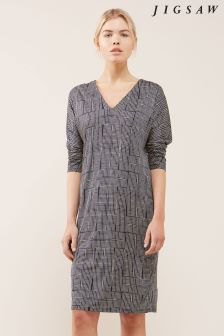Jigsaw Blue Stacked Grid Three Quarter Sleeve Dress