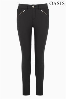 Oasis Black Skinny Coated Pintuck Jean