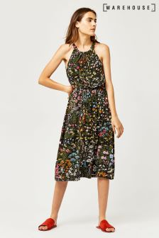 Warehouse Green Wild Garden Tie Shoulder Dress