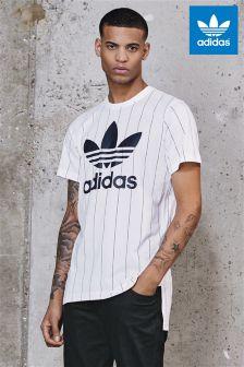adidas Originals White Tokyo Pin Stripe T-Shirt