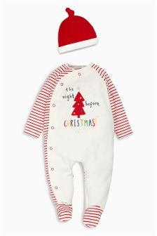 Velour Christmas Sleepsuit And Hat (0-18mths)