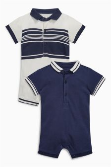 Polo Collared Rompers Two Pack (0mths-2yrs)