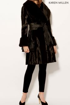 Karen Millen Black Pony Coat