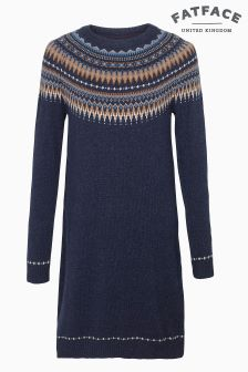 Fat Face Navy Madison Fairisle Jumper Dress