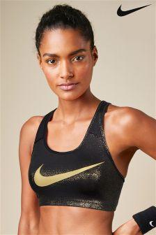 Nike Black Pro Classic Swoosh Sports Bra