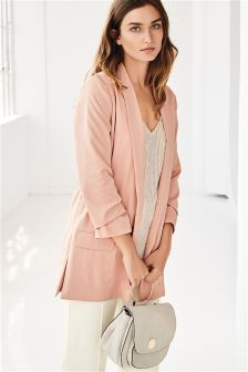 Hammered Satin Ruched Sleeve Jacket